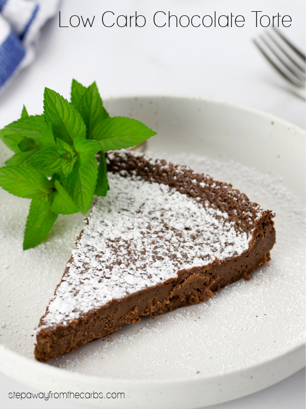 Low Carb Chocolate Torte - a rich and decadent recipe which is keto, sugar free, and gluten free! With video tutorial.