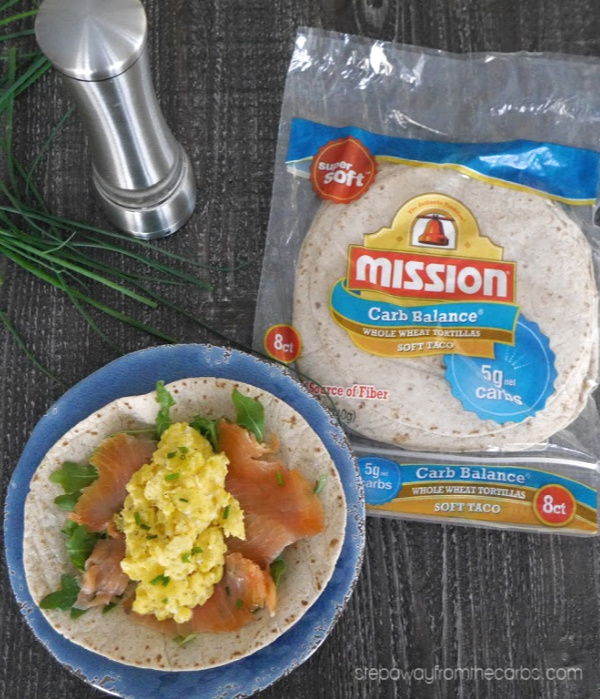Low Carb Smoked Salmon and Scrambled Egg Breakfast Wraps - the perfect way to start the day!