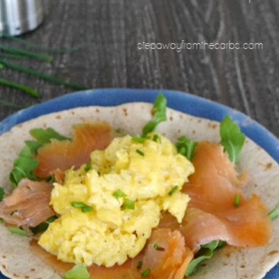 Low Carb Smoked Salmon and Scrambled Egg Breakfast Wraps