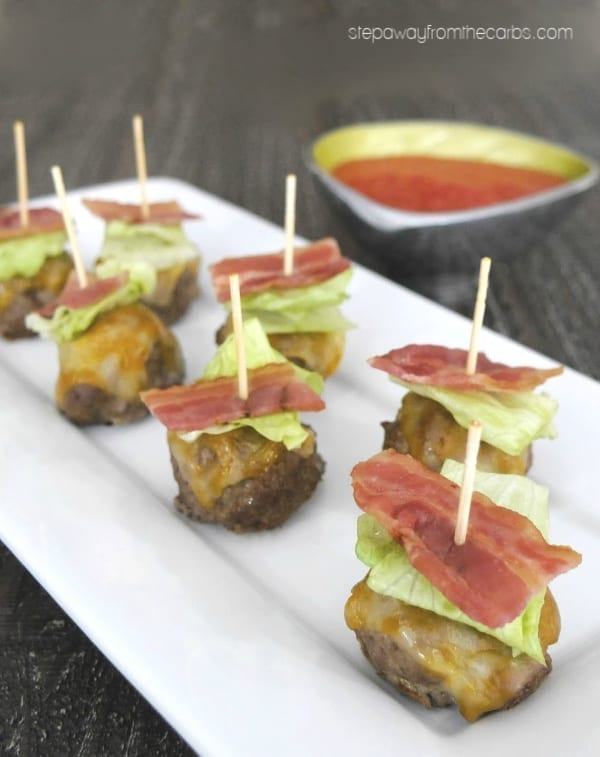 Bun-less Bacon Cheeseburger Bites - a low carb and keto appetizer and party recipe