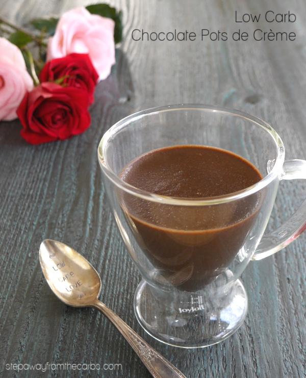 Low Carb Chocolate Pots de Crème - a sugar-free rich and indulgent dessert!