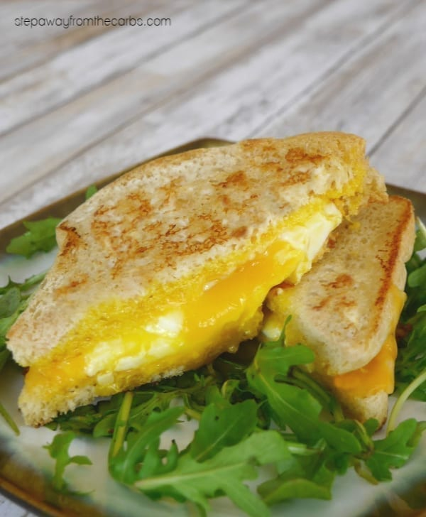 Low Carb Grilled Cheese - with a Fried Egg! Made with low carb bread. Perfect for a quick meal!