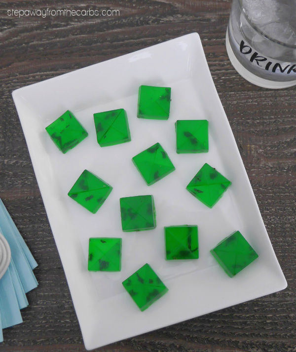 Low Carb Mojito Jello Bites - sugar free treats with lime jello, fresh mint, and rum!