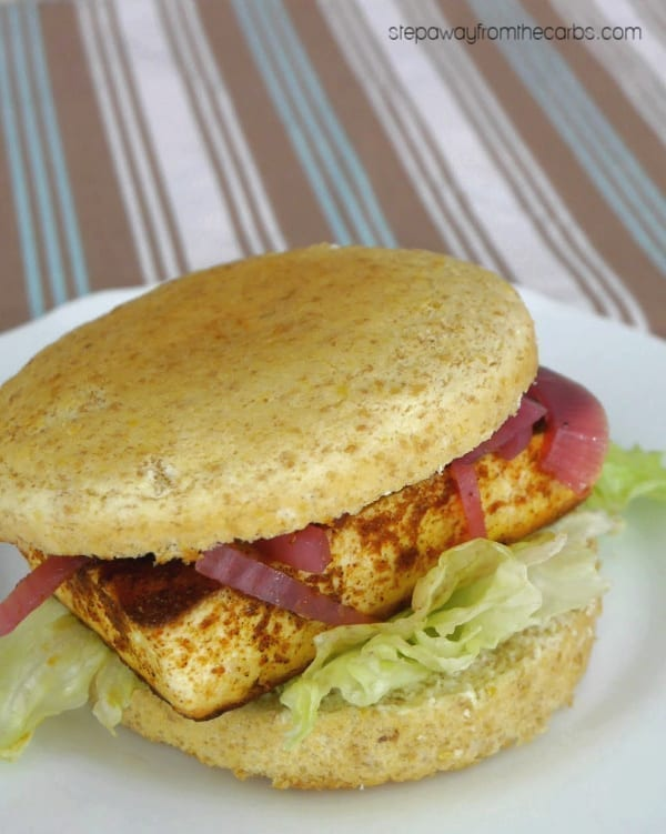 Low Carb Paneer Burger - an Indian cheese with Tandoori spices in a low carb bun!