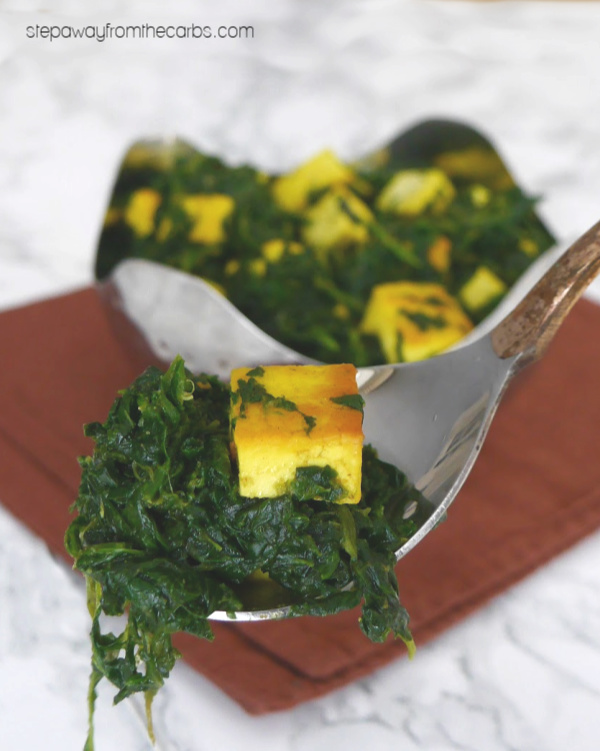 Low Carb Saag Paneer - a tasty Indian side dish made with spinach and cheese! Keto recipe.