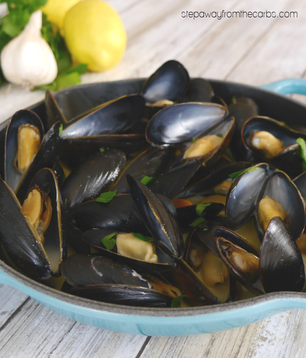 Steamed Mussels with Garlic and Lemon - a low carb and keto appetizer or light lunch
