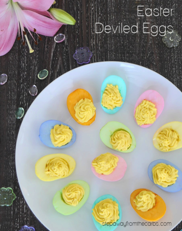 Easter Deviled Eggs - a pretty low carb appetizer that your guests will love!