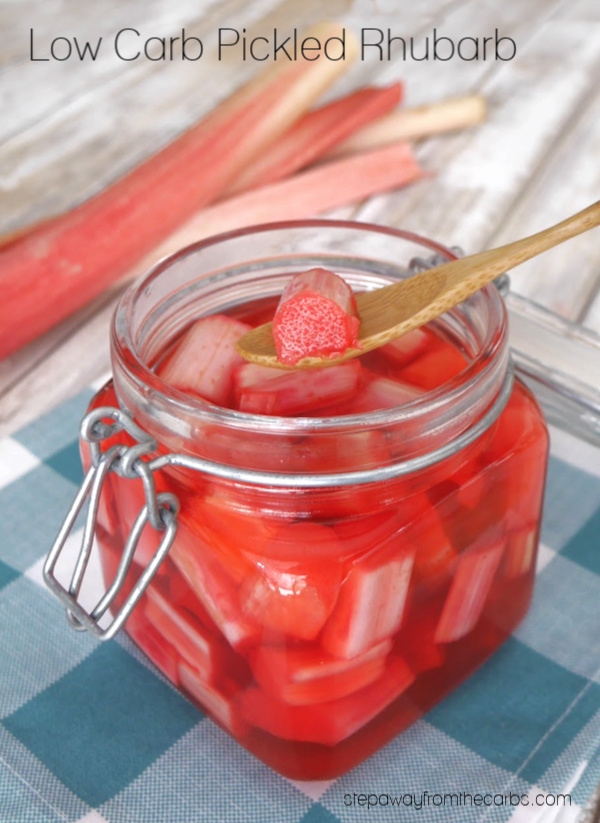Low Carb Pickled Rhubarb - a tangy and tart condiment! Sugar free and keto recipe.