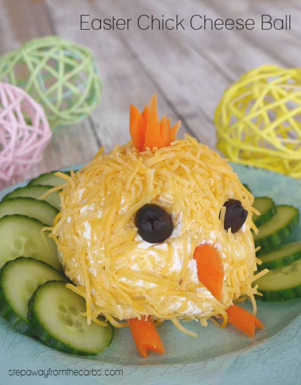 Easter Chick Cheese Ball - a cute low carb, keto, and LCHF appetizer and party recipe