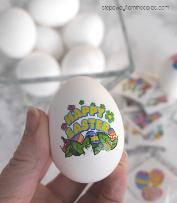 Easy Hard Boiled Eggs for Easter - decorated with temporary tattoos!