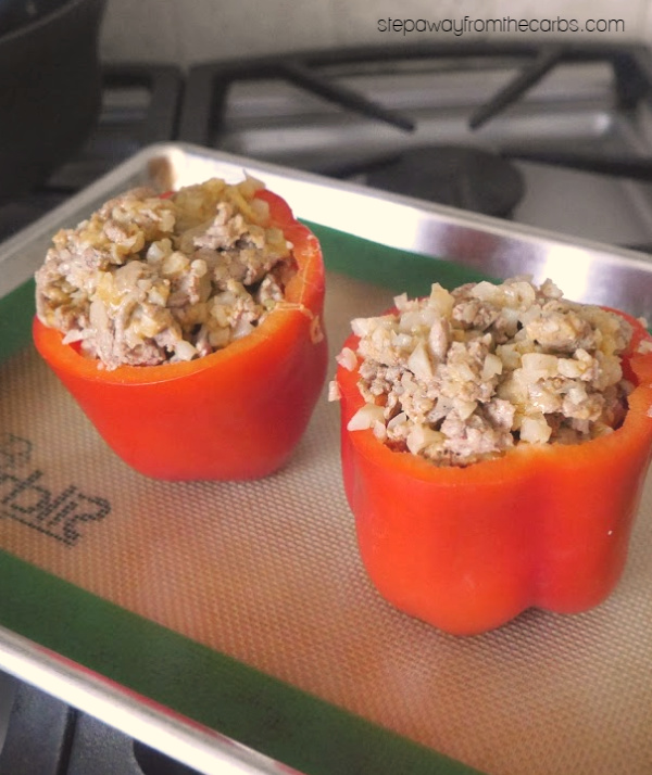 Low Carb Stuffed Peppers - with ground turkey, cauliflower rice, and cheese!