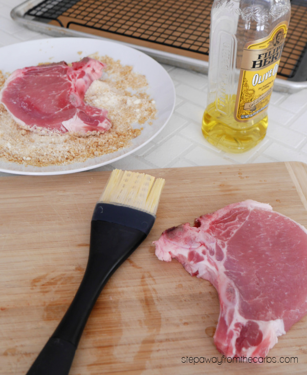 Keto Pork Chops with a Parmesan and pork rind crust! Easy low carb recipe!