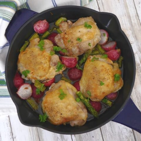 Skillet Chicken Thighs with Radishes and Asparagus