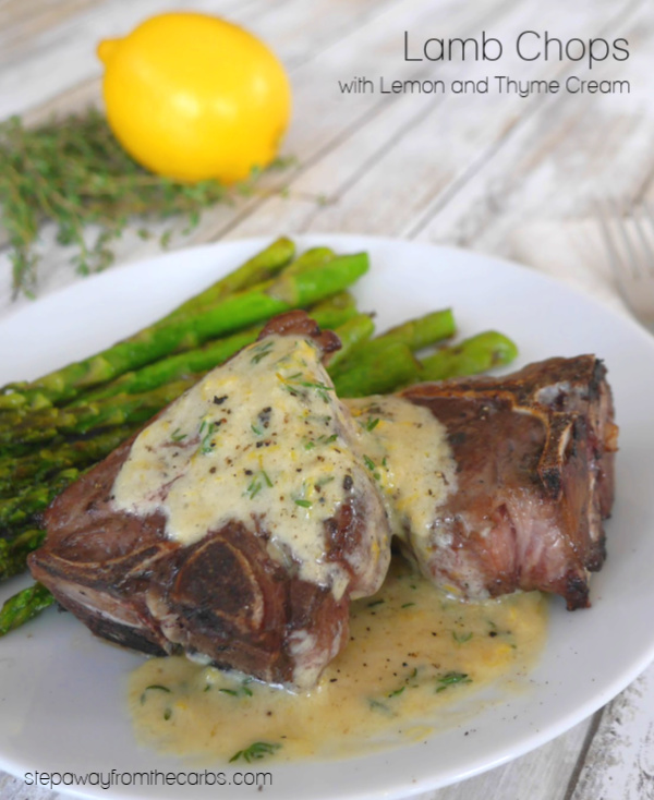 Lamb Chops with Lemon and Thyme Cream - a delicious low carb and keto recipe, served with grilled asparagus!