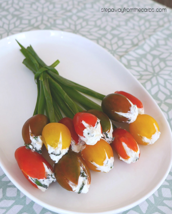 Low Carb Cherry Tomato Flowers - a pretty (and edible!) decoration for your spring or Easter table!