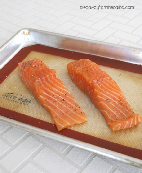 Low Carb Crab Topped Salmon - a sushi-inspired keto recipe!