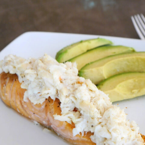 Low Carb Crab Topped Salmon