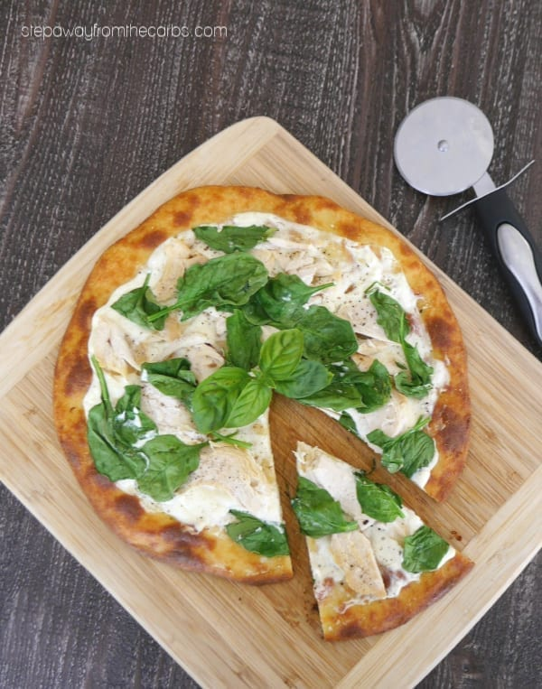 Low Carb White Pizza with Chicken and Spinach - made with FatHead dough! Gluten free, LCHF and keto recipe.