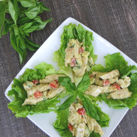 Low Carb Pesto Chicken Lettuce Wraps
