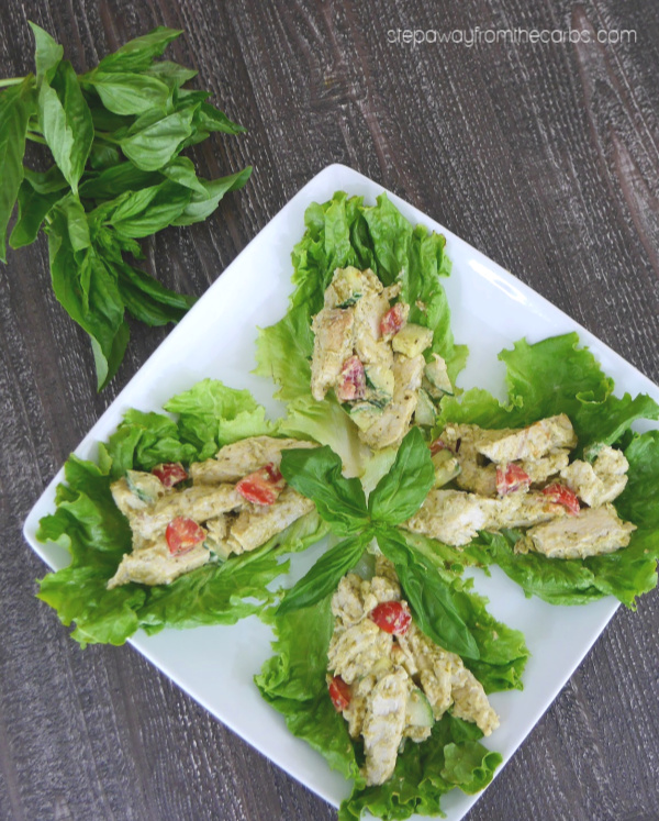 Low Carb Pesto Chicken Lettuce Wraps - a quick and convenient keto lunch