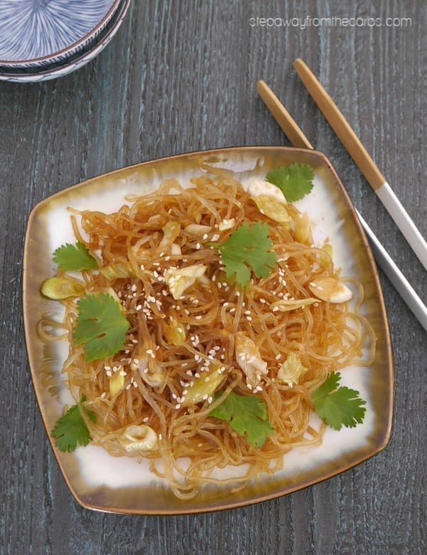 Low Carb Sesame Noodles - made from kelp noodles! Easy Asian keto recipe.