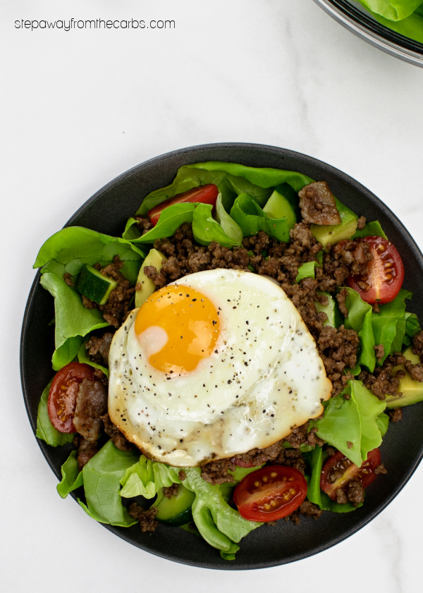 Low Carb Burger Bowls - a huge and filling burger bowl with egg and bacon!