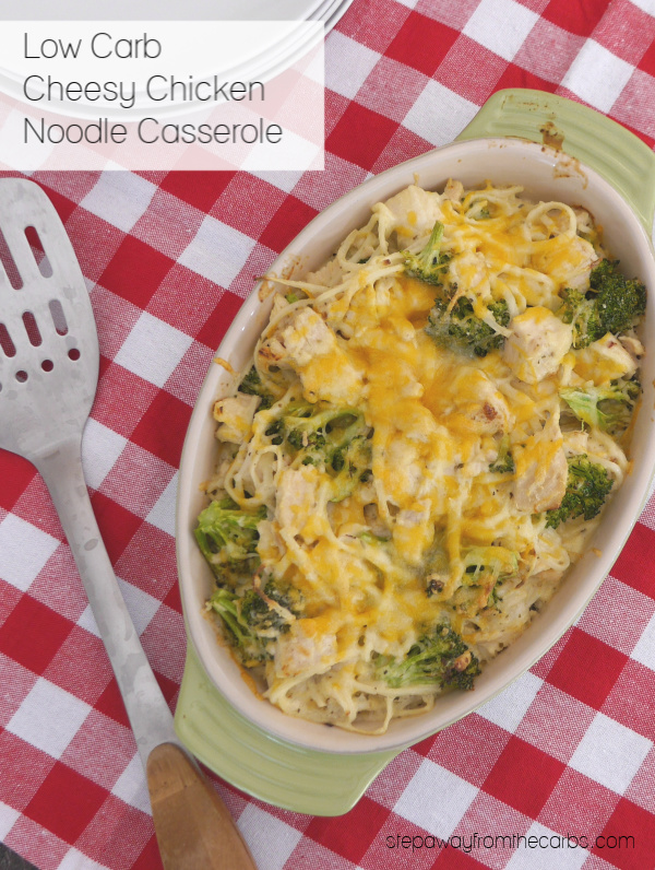Low Carb Cheesy Chicken Noodle Casserole - a surprisingly quick and easy family meal!