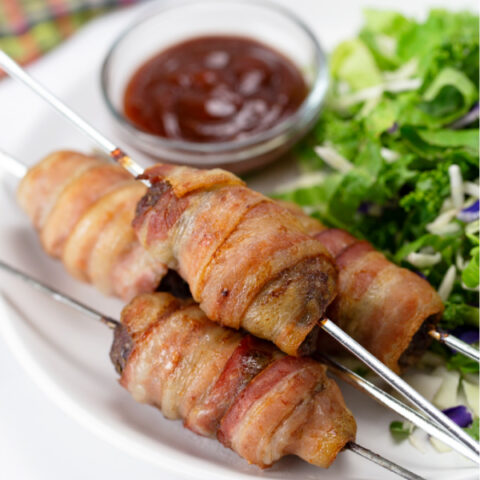Bacon Wrapped Burger Skewers