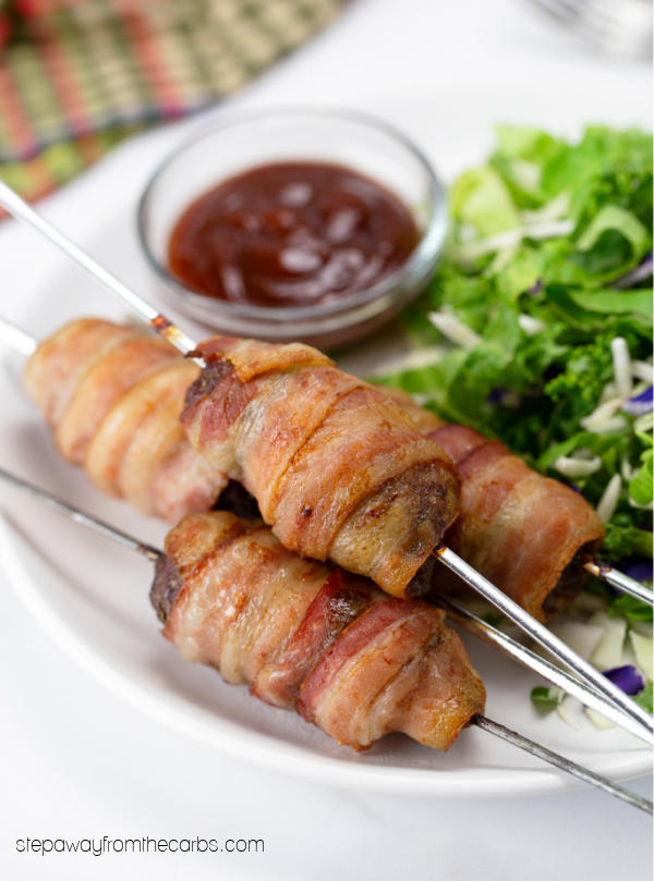 Low Carb Bacon Wrapped Burger Skewers - keto friendly recipe!
