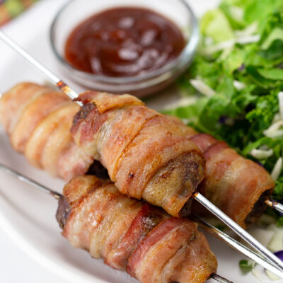 Low Carb Bacon Wrapped Burger Skewers