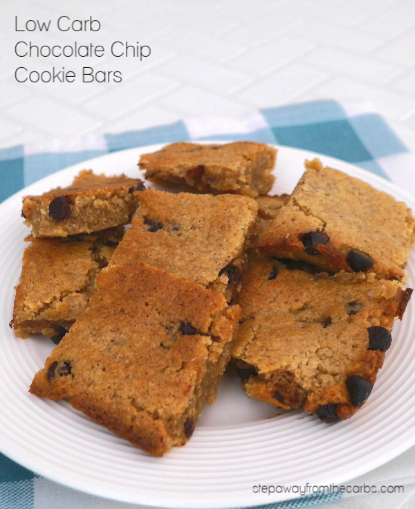 Low Carb Chocolate Chip Cookie Bars - soft and chewy treats! Keto, gluten free, and sugar free recipe.