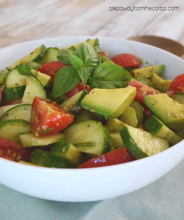 Low Carb Cucumber, Tomato and Avocado Salad - a colorful and delicious keto-friendly side dish recipe!