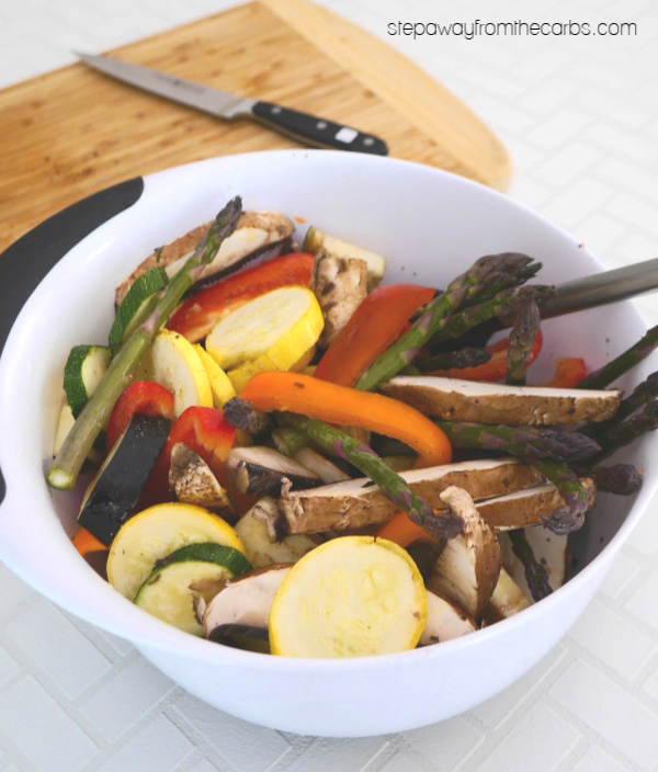 Low Carb Grilled Vegetables with Sliced Mozzarella! Perfect for the summer!