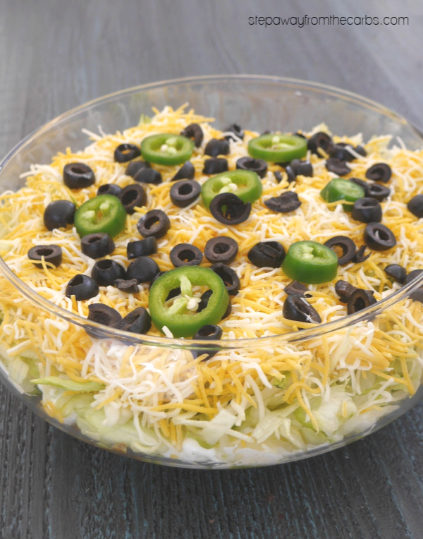 Low Carb Layered Dip - seven layers of perfection! Ideal for parties and gatherings!