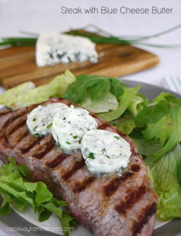 Steak with Blue Cheese Butter - a fantastic combination of flavors! Low carb, keto, and LCHF recipe.
