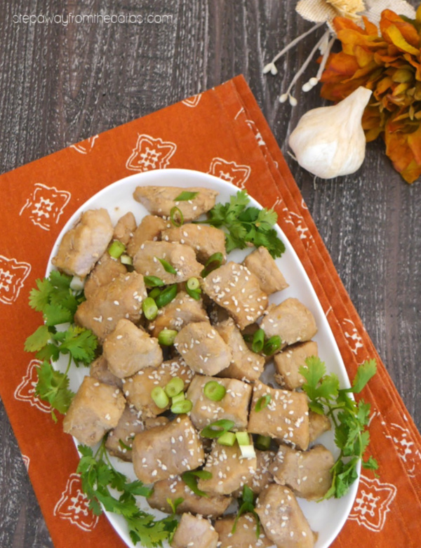 Low Carb Honey Garlic Pork Bites - a sugar free and keto recipe that is perfect for entertaining!