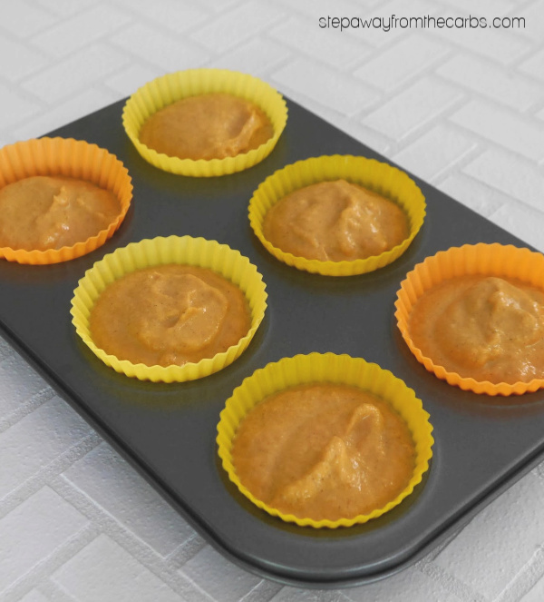 Low Carb Pumpkin Muffins - soft sugar free treats topped with a maple cream cheese frosting!