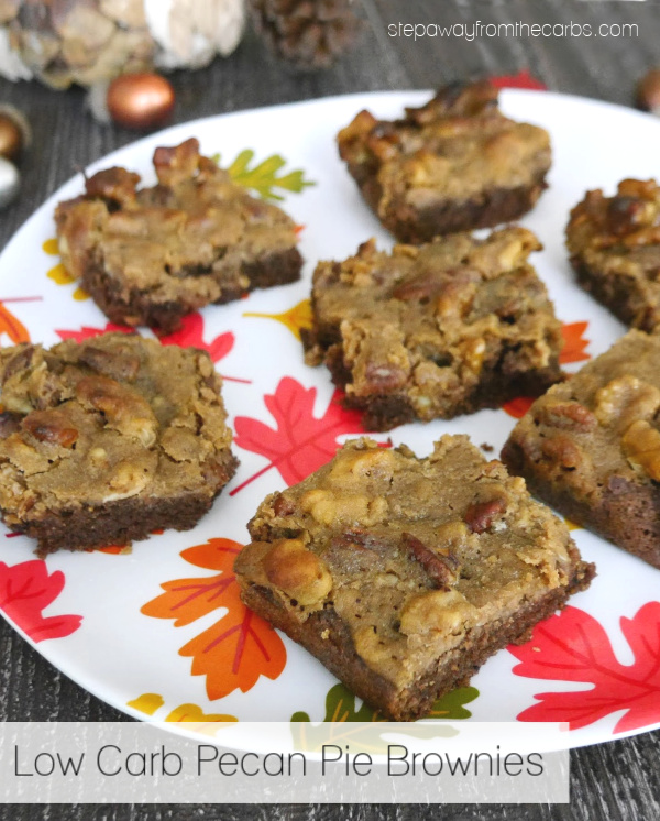 Low Carb Pecan Pie Brownies - a tasty treat for Thanksgiving! Sugar free, gluten free, and keto friendly recipe.