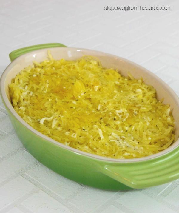 Low Carb Spaghetti Squash Casserole -a tasty and cheesy side dish recipe! Gluten free.