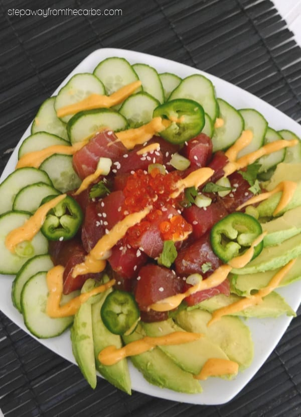 Low Carb Tuna Poke - served with cucumber, avocado, and a spicy mayo. You won't miss the rice!