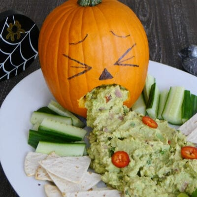 Puking Pumpkin with Spicy Guacamole