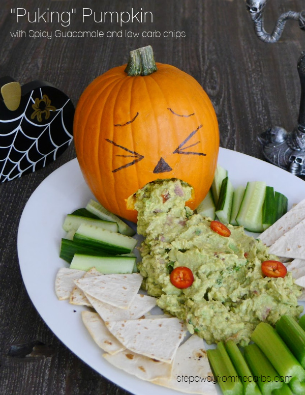 Puking Pumpkin with spicy guacamole and low carb chips. Perfect for Halloween!