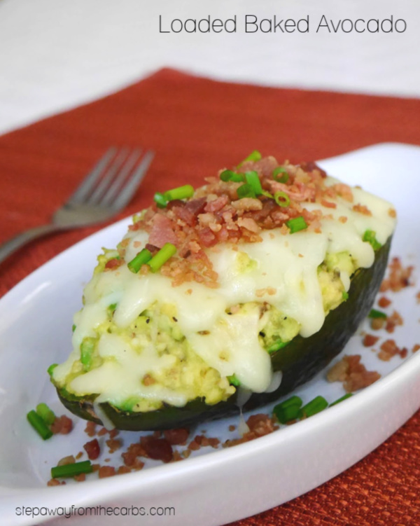 Loaded Baked Avocado - a low carb alternative to baked potato! An easy lunch recipe.
