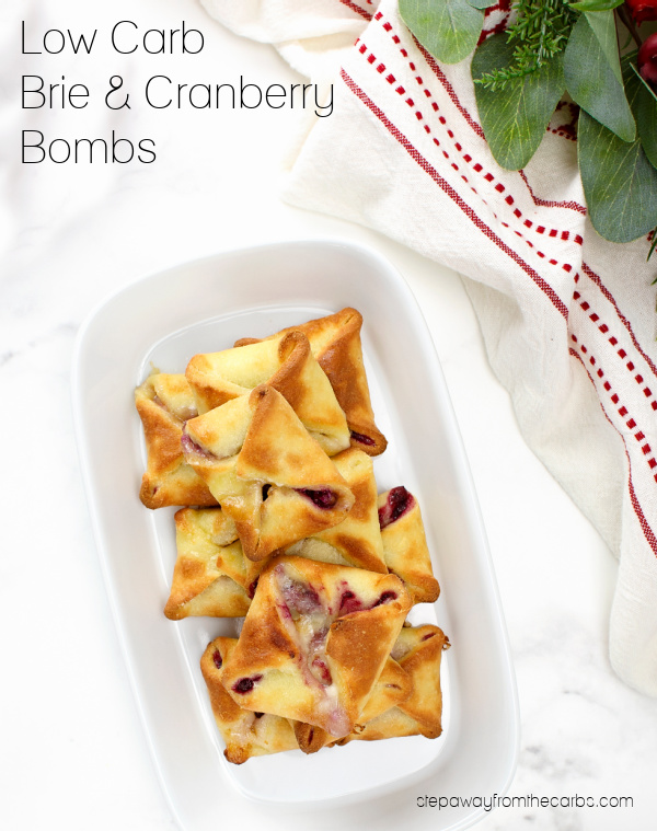 Low Carb Brie and Cranberry Bombs - a holiday appetizer made with fathead dough!
