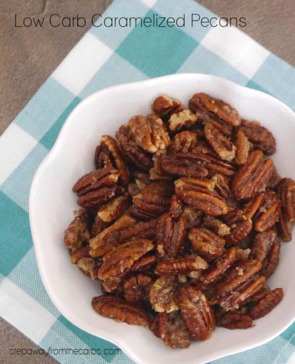 Low Carb Caramelized Pecans - sugar free and keto friendly recipe. Great for snacking, desserts, and more!