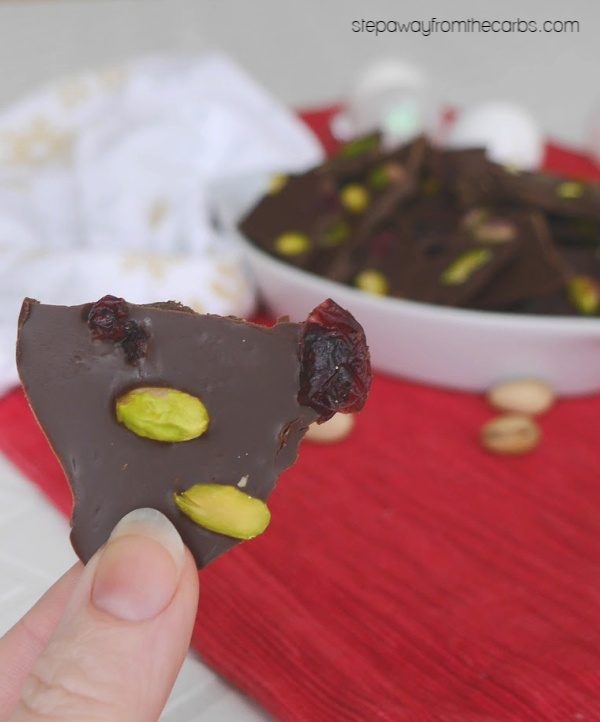 Low Carb Chocolate Bark with pistachios and cranberries! A tasty sweet treat for the holidays!