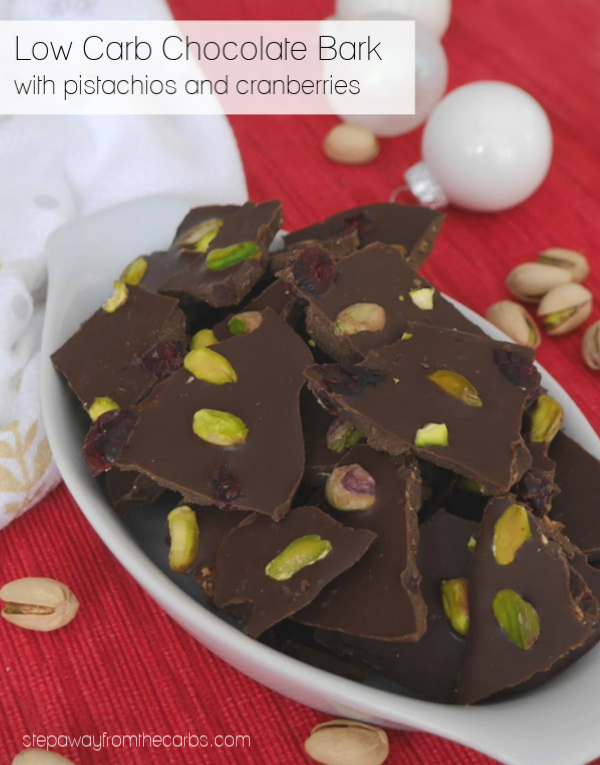 Low Carb Chocolate Bark with Pistachios and Cranberries