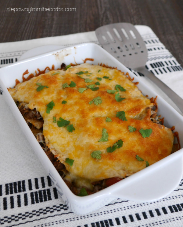"""Low Carb Mexican """"Lasagna"""" - a comfort food recipe made with ground beef, salsa, and low carb tortillas!"""