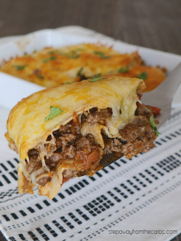 "Low Carb Mexican ""Lasagna"" - a comfort food recipe made with ground beef, salsa, and low carb tortillas!"