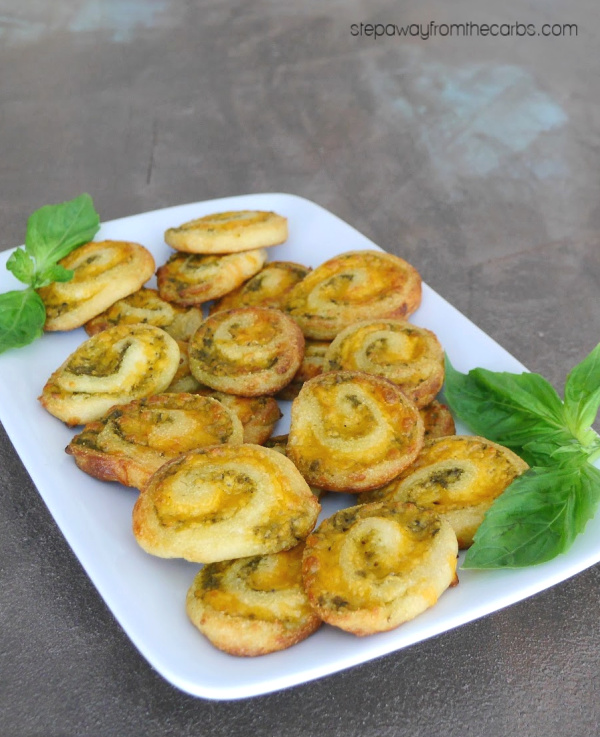 Low Carb Pinwheels with Cheese and Pesto - gluten free, keto, and LCHF recipe